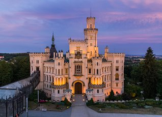 Romantic sunset at the castle Hluboka